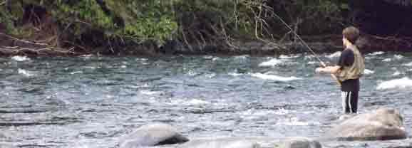 Fly Fishing in the Quinsam River Vancouver Island